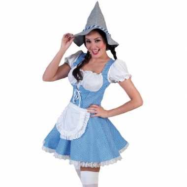 Carnavalskleding blauw geblokte oktoberfest jurk dames online