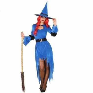 Carnavalskleding blauwe heksenjurk hoed dames online