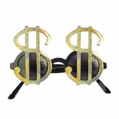 Carnavalskleding dollar brillen goud online