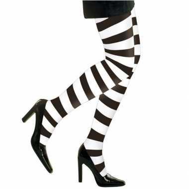 Carnavalskleding feest party gestreepte heksen panty maillot zwart wit dames online