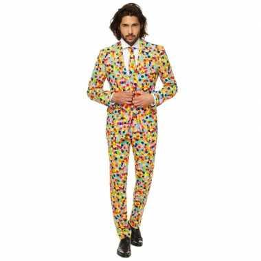 Carnavalskleding gekleurde business suit confetti print online