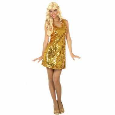 Carnavalskleding goud disco jurkje pailletten online