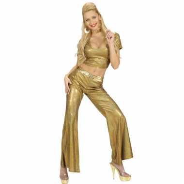 Carnavalskleding gouden glitter broeken dames online