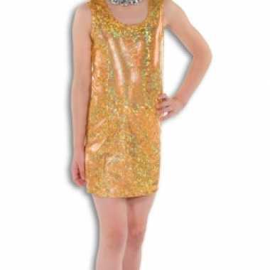 Carnavalskleding gouden glitter jurk meisjes online