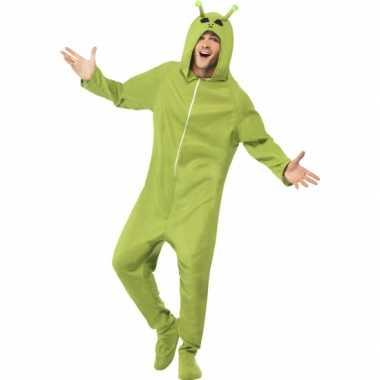 Carnavalskleding groene alien onesie online
