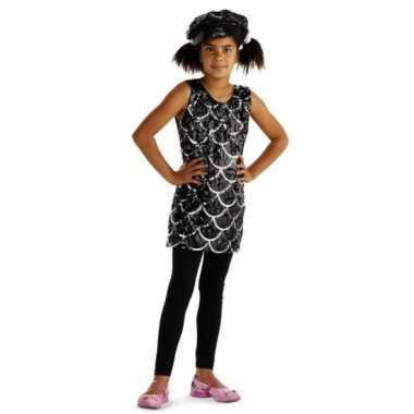 Carnavalskleding jurkje zwarte pailletten meisjes online