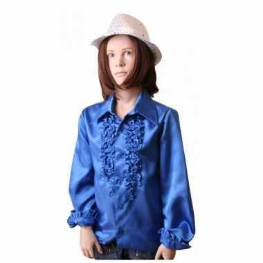 Carnavalskleding kobaltblauwe hippie blouse meisjes online