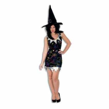Carnavalskleding kort heksen jurkje zwart zilver online