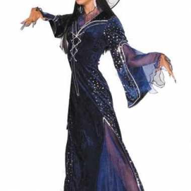 Carnavalskleding lange paarse heksenjurk dames online