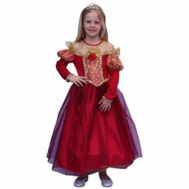 Carnavalskleding lange rode prinsessen jurk online