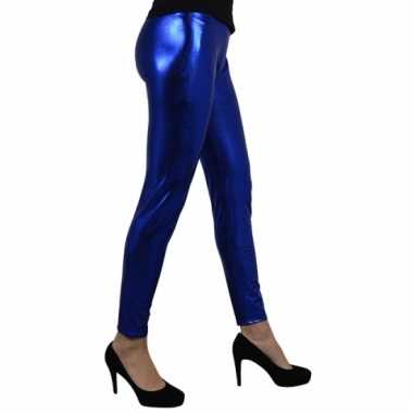 Carnavalskleding legging metallic blauw online