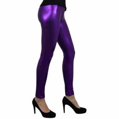 Carnavalskleding legging metallic paars online