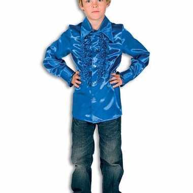 Carnavalskleding luxe kobaltblauwe hippie blouse jongens online