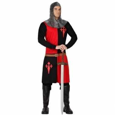 Carnavalskleding middeleeuws ridder verkleed pak rood/zwart heren onl