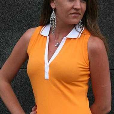 Carnavalskleding mouwloze dames polo oranje online