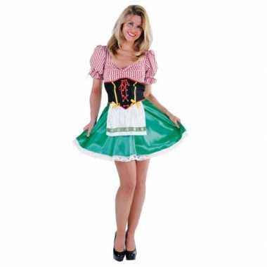 Carnavalskleding oktoberfest groen rood jurkje dames online
