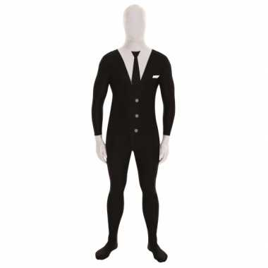 Carnavalskleding originele morphsuit businessman print zwart online
