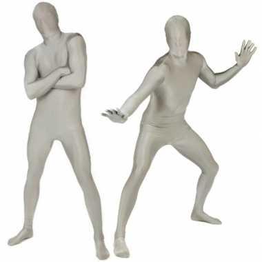 Carnavalskleding originele morphsuit zilverkleurig online