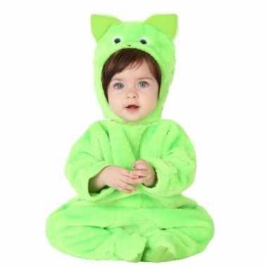 Carnavalskleding pluche baby verkleedpak groene kat online