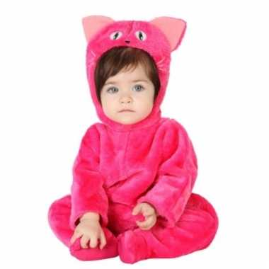Carnavalskleding pluche baby verkleedpak roze kat online