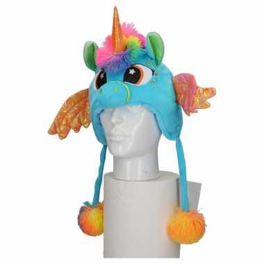 Carnavalskleding pluche blauwe eenhoorn babymuts flapjes online