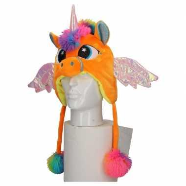 Carnavalskleding pluche oranje eenhoorn babymuts flapjes online