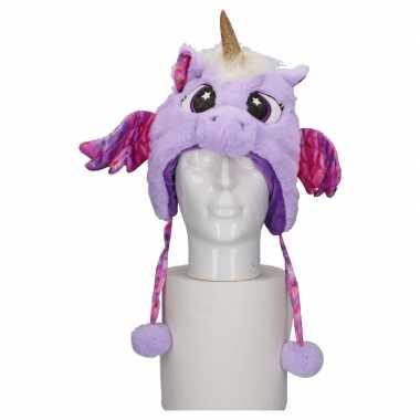 Carnavalskleding pluche paarse eenhoorn babymuts flapjes online