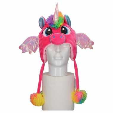 Carnavalskleding pluche roze eenhoorn babymuts flapjes online