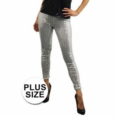 Carnavalskleding plus size zilveren pailletten legging online