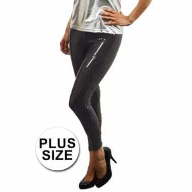 Carnavalskleding plus size zwarte pailletten legging online