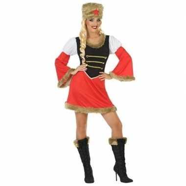 Carnavalskleding rood/zwart kozakken jurkje dames online