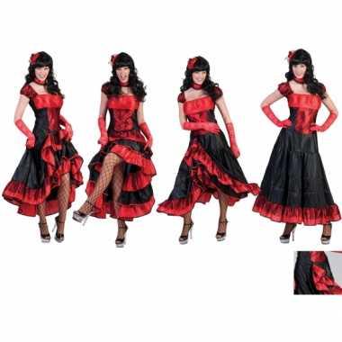 Carnavalskleding rood zwarte saloon jurk online