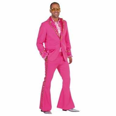 Carnavalskleding roze bling bling pak heren online