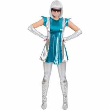 Carnavalskleding space jurkje blauw/zilver dames online