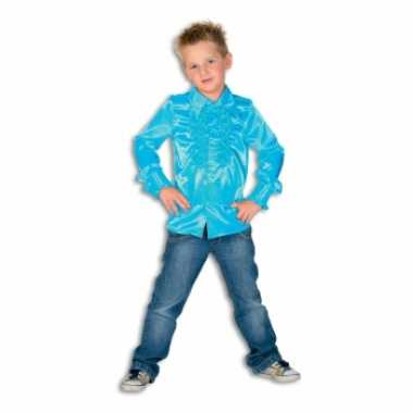 Carnavalskleding turquoise blauwe hippie blouse jongens online