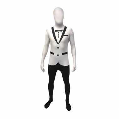 Carnavalskleding tuxedo morphsuit wit online