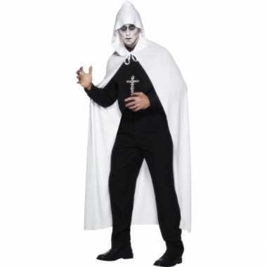 Carnavalskleding witte lange cape capuchon online