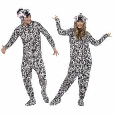 Carnavalskleding zebra huispak volwassenen online