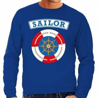 Carnavalskleding zeeman/sailor verkleed trui blauw heren online