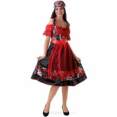 Carnavalskleding zigeuner jurkje doodshoofden online