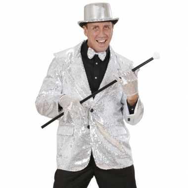 Carnavalskleding zilveren glitter jassen online