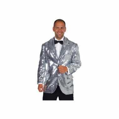 Carnavalskleding zilveren heren jas deluxe online