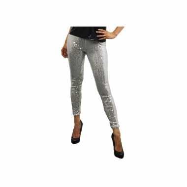 Carnavalskleding zilveren pailletten legging online
