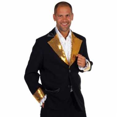 Carnavalskleding zwart goud glitter colbert heren online