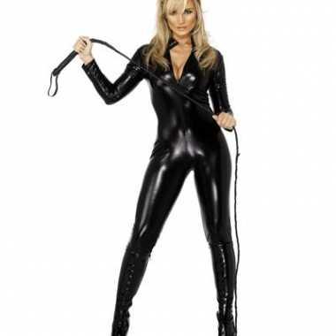 Carnavalskleding  Zwarte catsuits lederlook dames online