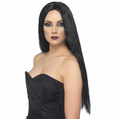 Carnavalskleding zwarte dames pruik lang zwarte haren online