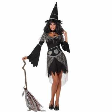 Carnavalskleding zwarte heksenjurk hoed dames online