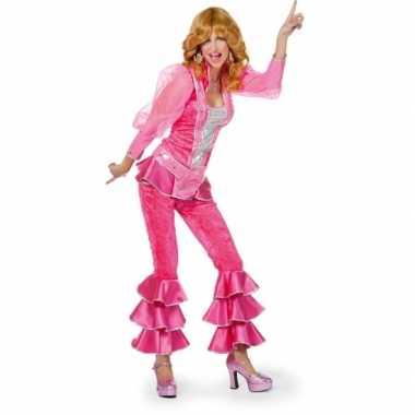 Disco carnavalskleding roze zilver online