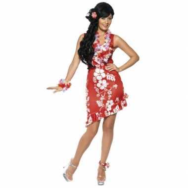 Hawaii carnavalskleding jurkje rood bloemen online