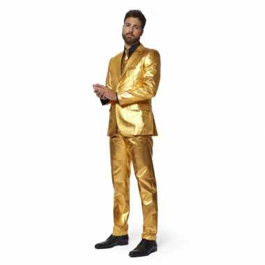 Heren verkleedcarnavalskleding goud stropdas business suit online